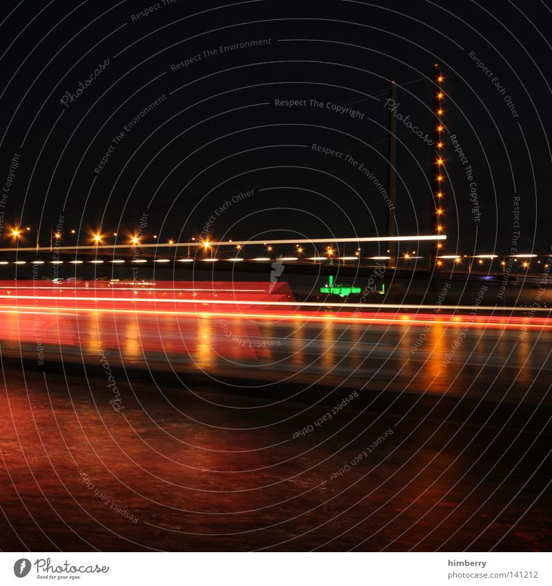 ports of call Duesseldorf Bridge Town Evening Lifestyle Modern Street Night life Lamp Lighting Event lighting Long exposure Exposure City life Column