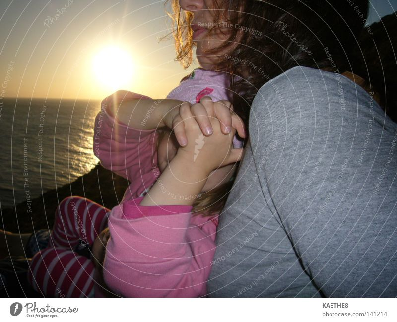 sunset Sunset Woman Mother Child Daughter Ocean Family & Relations Harmonious Love Trust Longing Vacation & Travel Intimacy Toddler Single parent