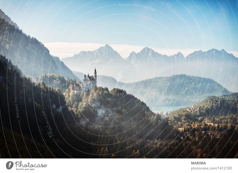 Autumn day in the Allgäu Calm Vacation & Travel Sun Mountain Hiking Environment Nature Landscape Plant Fog Hill Rock Alps Stone Blue Green Go up ascent outside