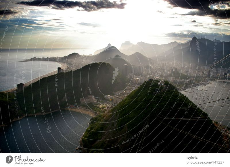 Beautiful Ocean Mountain Coast Horizon Rock Bay Brazil South America Rio de Janeiro Port City Clouds in the sky Corcovado-Botafogo Sugar Loaf Mountain