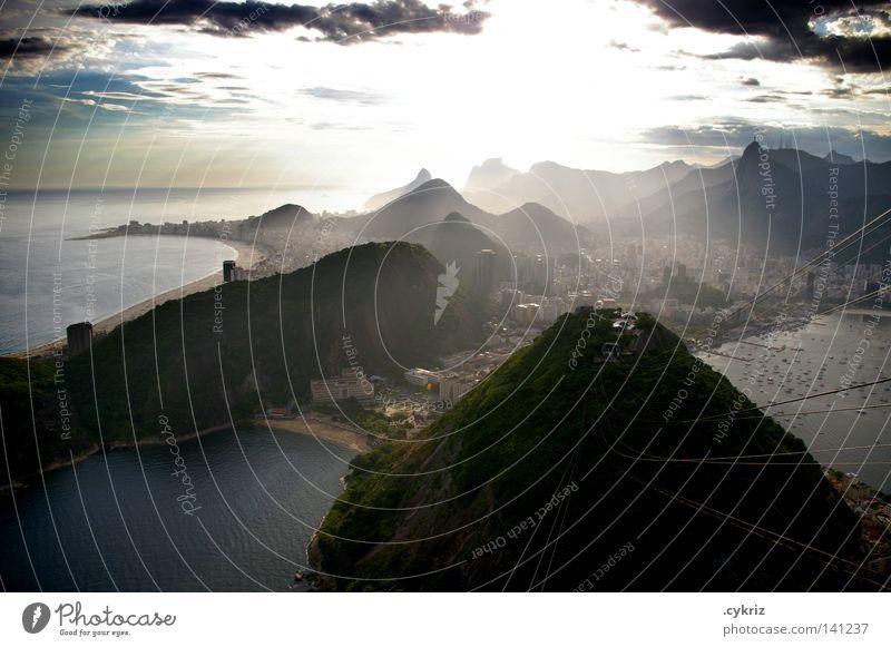 Cidade Maravilhosa Rio de Janeiro Brazil Twilight Sunset South America Beautiful Corcovado-Botafogo Bay Ocean Coast Port City Back-light Sunlight