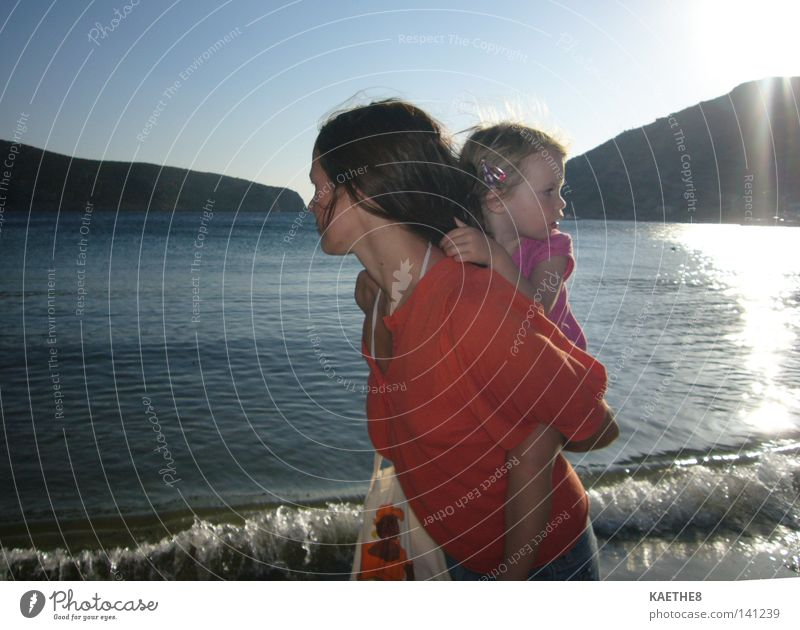 Woman Child Girl Sun Ocean Summer Beach Vacation & Travel Calm Love Parents Family & Relations Orange Waves Mother To go for a walk