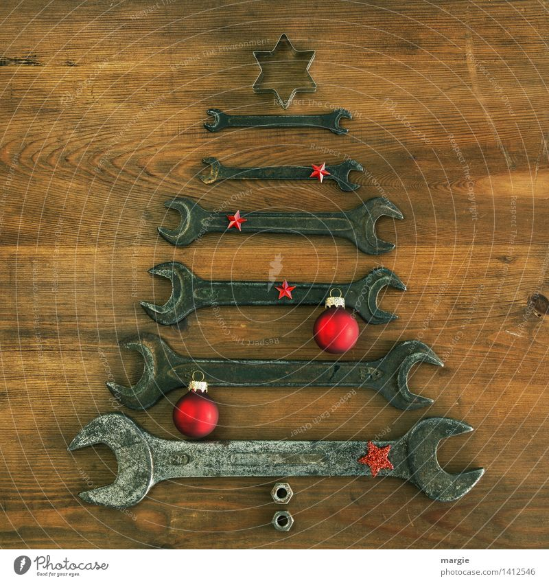 Christmas tree: different sized wrenches with red Christmas decoration Leisure and hobbies Handicraft Feasts & Celebrations Christmas & Advent Profession