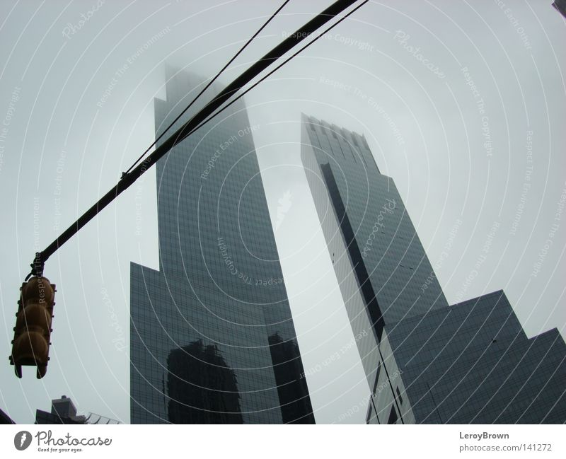 City Architecture Fog High-rise Downtown Traffic light New York City
