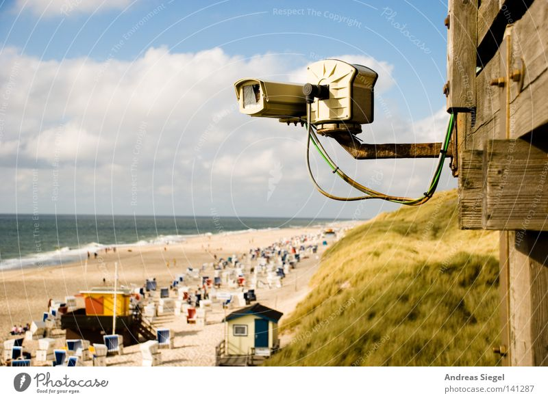 Vacation & Travel Ocean Summer Beach Clouds Relaxation Grass Sand Coast Horizon Waves Observe Protection Camera Beautiful weather North Sea