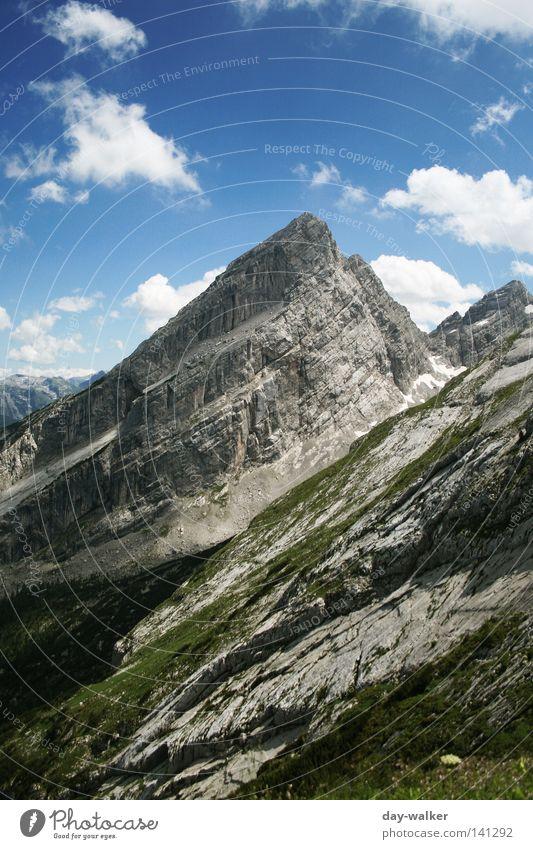 The Watzmann Peak Hiking Alpine Bavaria Meadow Glacier Clouds Vacation & Travel Peak cross Mountain Sky Alps high-corner southern tip medium-tipped watzmannhaus