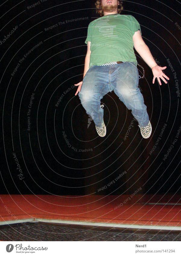 Man Hand Green Red Joy Black Dark Jump Legs Fingers T-shirt Posture Pants Facial hair Denim Effort