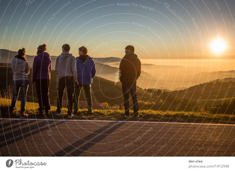 Human being Woman Sky Nature Youth (Young adults) Man Young woman Sun Relaxation Young man Landscape Clouds Animal Far-off places Adults Mountain