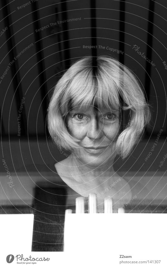 Woman Human being Old Black Eyes Feminine Hair and hairstyles Line Blonde Glass Stripe Transparent Window pane Graphic Portrait photograph Abstract