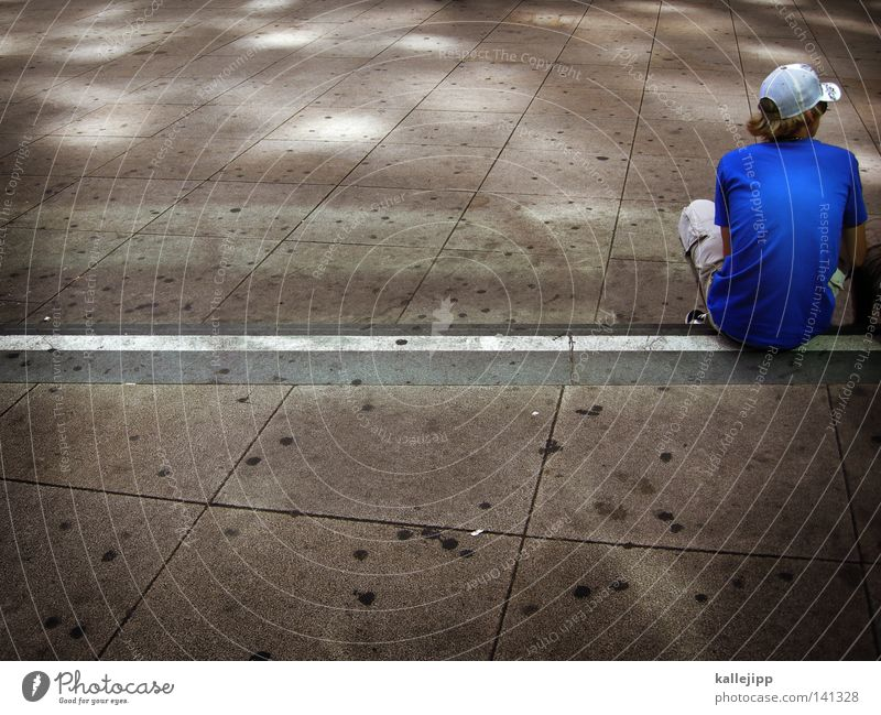 Human being Man Youth (Young adults) Old Blue White Loneliness Adults Gray Style Leisure and hobbies Back Sit Concrete Large Places