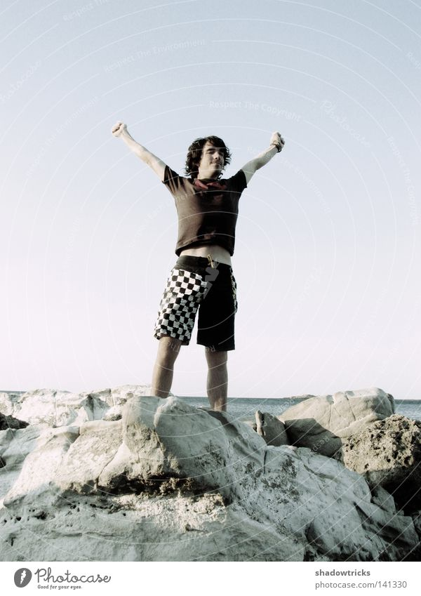 Sky Water Vacation & Travel Ocean Summer Beach Joy Freedom Moody Rock Arm Success T-shirt Violet To enjoy Shorts