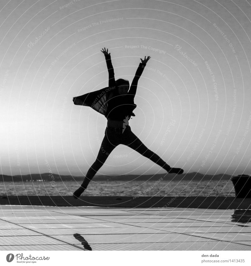 JUMP again Human being Young woman Youth (Young adults) 1 Ocean Adriatic Sea Zadar Croatia Tourist Attraction Landmark Pozdrav sunce Blossoming Playing Jump