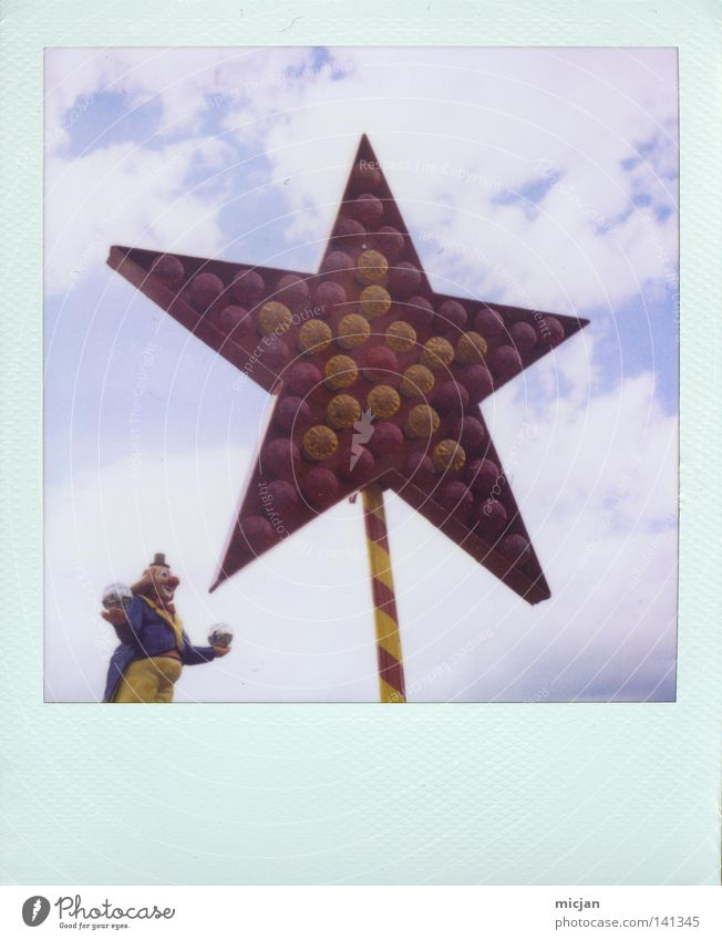 HH08.2 - Starcatcher Clown Star (Symbol) Fairs & Carnivals Lamp Electric bulb Event lighting Lighting Chic Beautiful 5 Juggle Catch Polaroid Analog Paper