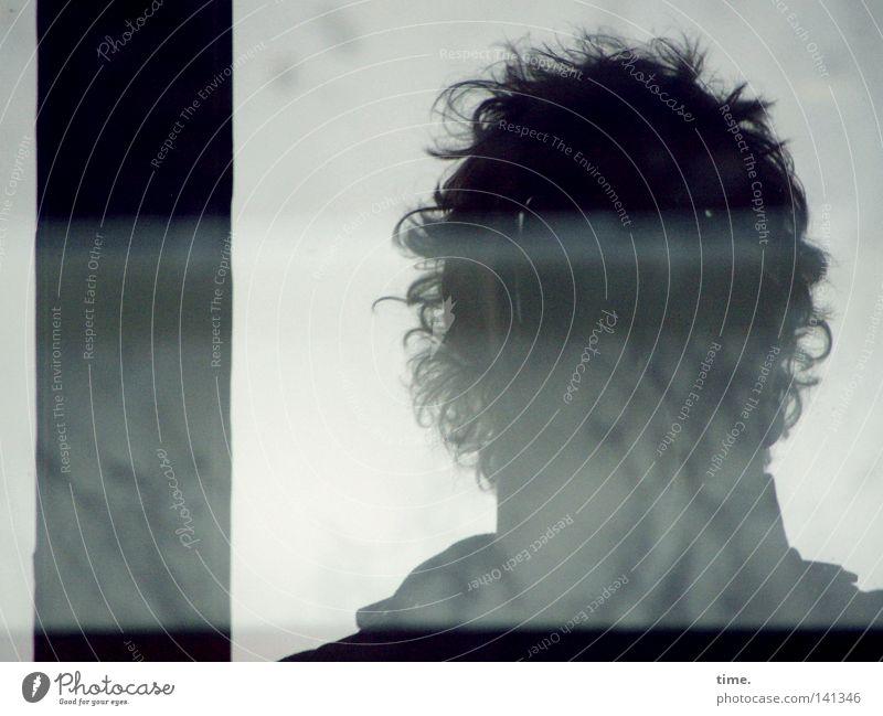 Man Gray Rain Adults Curl Window pane Dreary Frontal Joist Window seat Mop of curls