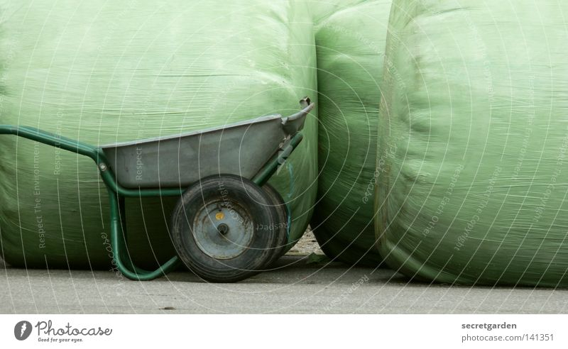 [HH08.2] fill up the public lightbox Wheelbarrow Sack Green Meadow Pasture Bale of straw Hay bale Foreign Funny Still Life Art Room Nature Push Frontal Empty