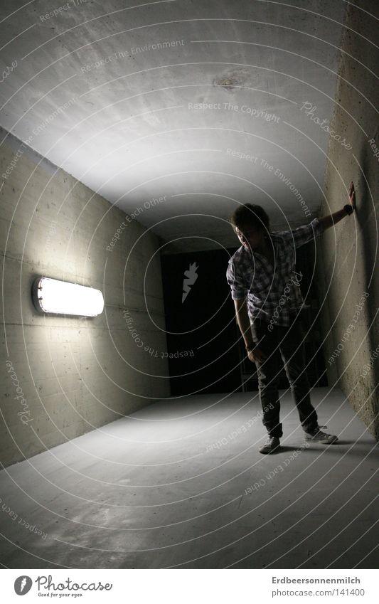 Man Dark Cold Wall (building) Gray Graffiti Earth Fear Tunnel Shirt Moon Chucks False Panic Floodlight Earnest