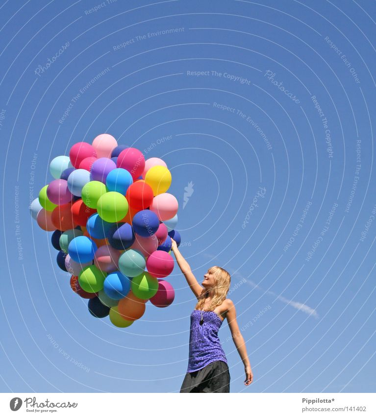 Sky Blue Summer Joy Colour Air Wind Flying Tall Multiple Balloon Many