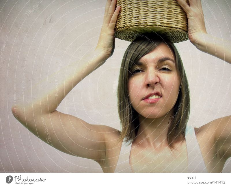 Woman Hand Face Hair and hairstyles Mouth Arm Nose Fingers Grimace Pot