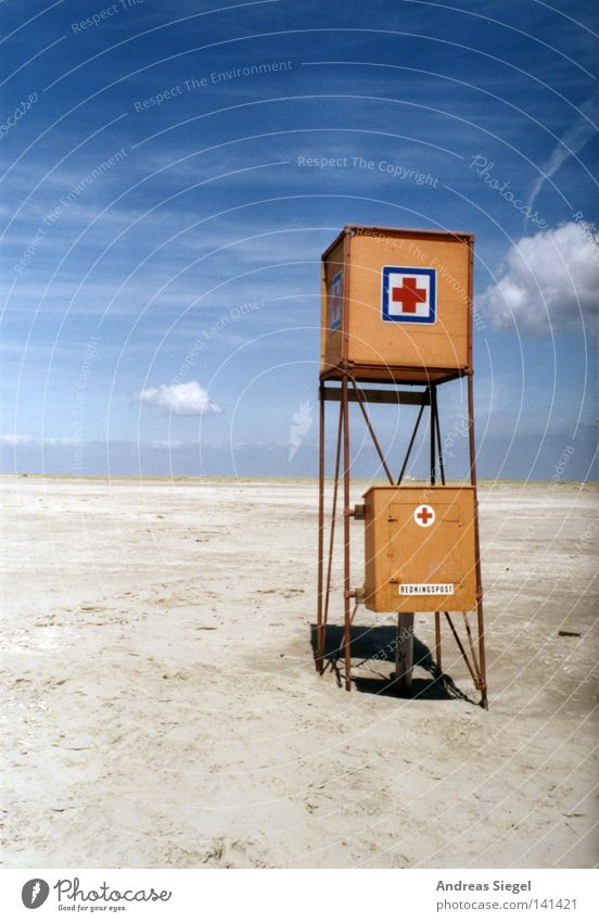Baywatch 1.0 - out of service Beach Coast Ocean Lake Vacation & Travel Denmark Rømø Sand Lifeguard Tower First Aid Sky Blue Clouds Orange Empty Loneliness