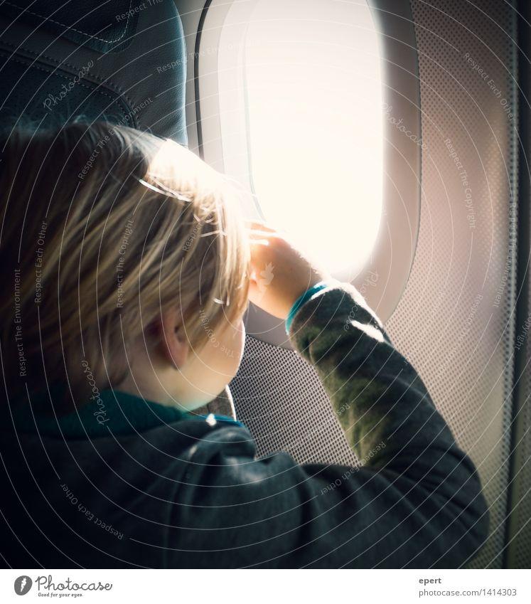 broadening of horizons Vacation & Travel Trip Adventure Freedom Child 1 Human being 3 - 8 years Infancy Aviation Airplane Passenger plane Car Window Porthole