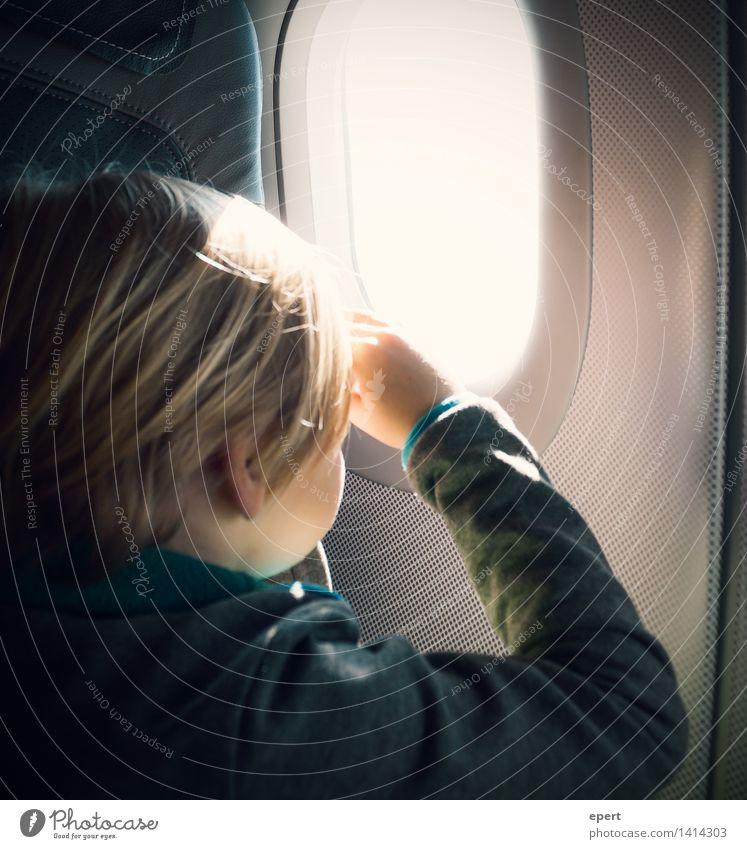 Human being Child Vacation & Travel Far-off places Car Window Freedom Flying Horizon Dream Aviation Infancy Perspective Trip Observe Airplane