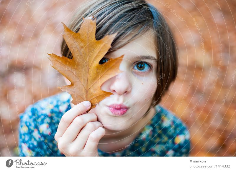 hoo-hoo Girl Youth (Young adults) 1 Human being 8 - 13 years Child Infancy Kissing Autumn Bright Autumnal Autumn leaves Autumnal colours Girlish Girl`s face