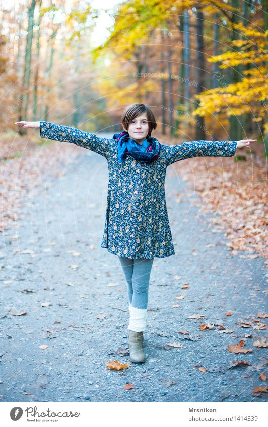 ... Girl Infancy Youth (Young adults) Life 1 Human being 8 - 13 years Child Looking Autumn Autumnal Automn wood Autumn leaves Stand Rotate Dance