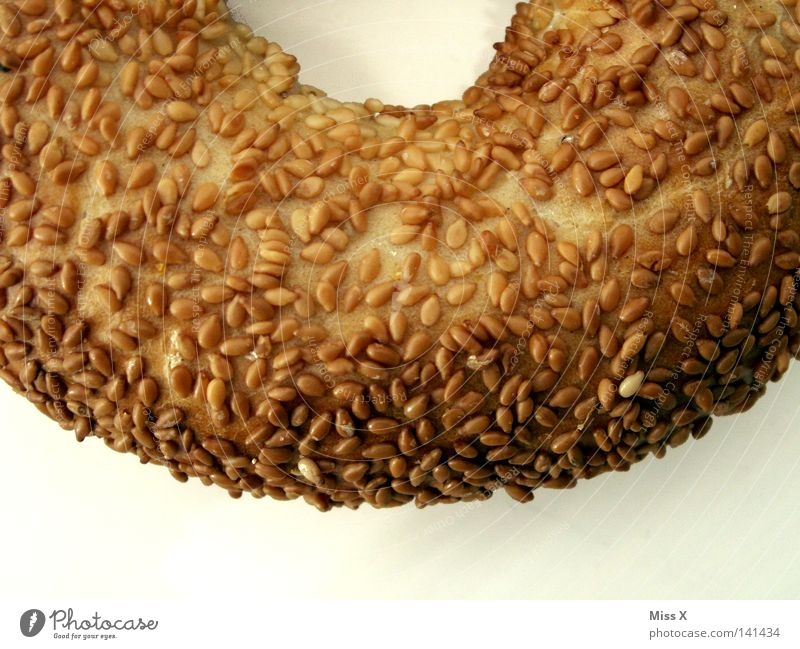 The Hunger Hole Colour photo Detail Isolated Image Bread Roll Nutrition Breakfast Delicious Dry Soft Brown White Appetite Sesame Bagel Grain Hollow Crust Curved