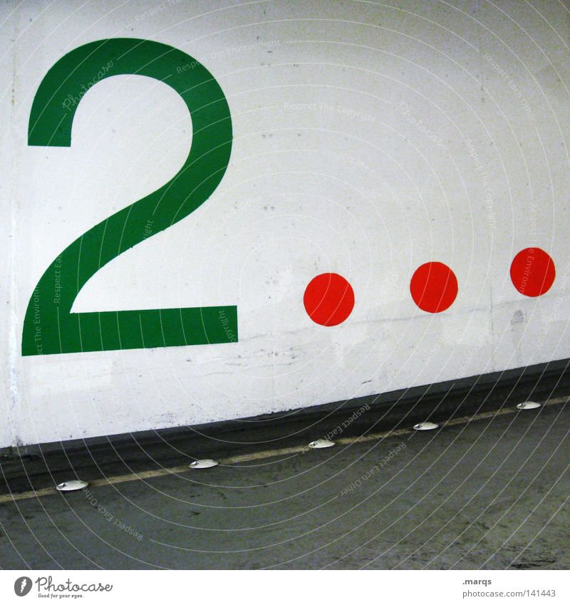 Deck Two Street Garage 2 Digits and numbers Parking lot Traffic infrastructure Transport Numbers Red Black parking two Numbers and numbers Green Round