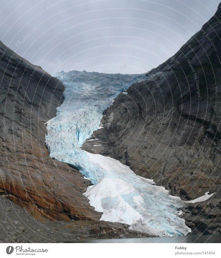 Water Blue Cold Mountain Stone Ice Rock Norway Glacier Sogn og Fjordane Mountain lake Briksdalbreen