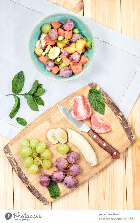 Salad with fresh fruits Green Food Bright Fruit Fresh Nutrition Vantage point Table Simple Clean Vegetable Delicious Organic produce Bowl Top Meal