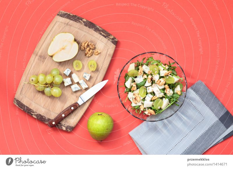 Salad with fresh fruits and vegetables Food Vegetable Fruit Lunch Vegetarian diet Diet Bowl Table Simple Fresh Bright Delicious Clean Green background board