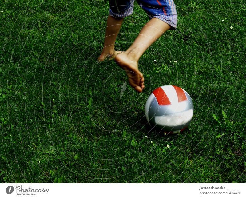 Why do you need shoes? Child Infancy Boy (child) Youth (Young adults) Ball Soccer Foot ball Playing Dribble Meadow Barefoot Feet Toes Legs Action Shorts Bermuda