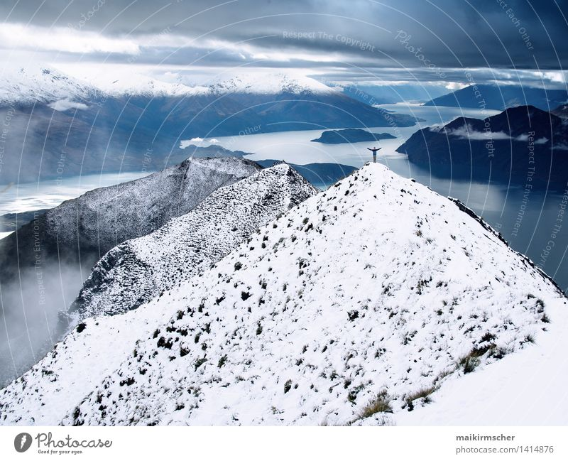 Sky Vacation & Travel Water Relaxation Landscape Far-off places Winter Mountain Emotions Snow Happy Freedom Lake Contentment Tourism Hiking