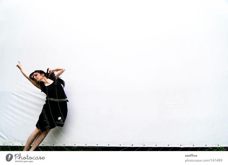 Hansspringindieluft [Weimar 2008] Projection screen Photo shoot Rockabilly Death's head Skirt Fashion Jump Hop Flying Air Movement Dynamics Exuberance Woman