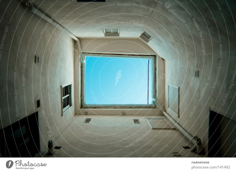 Sky Blue Window Freedom Building Air Bright Beginning Tunnel Terrace Rectangle Shot Clearing Escape Exhaust