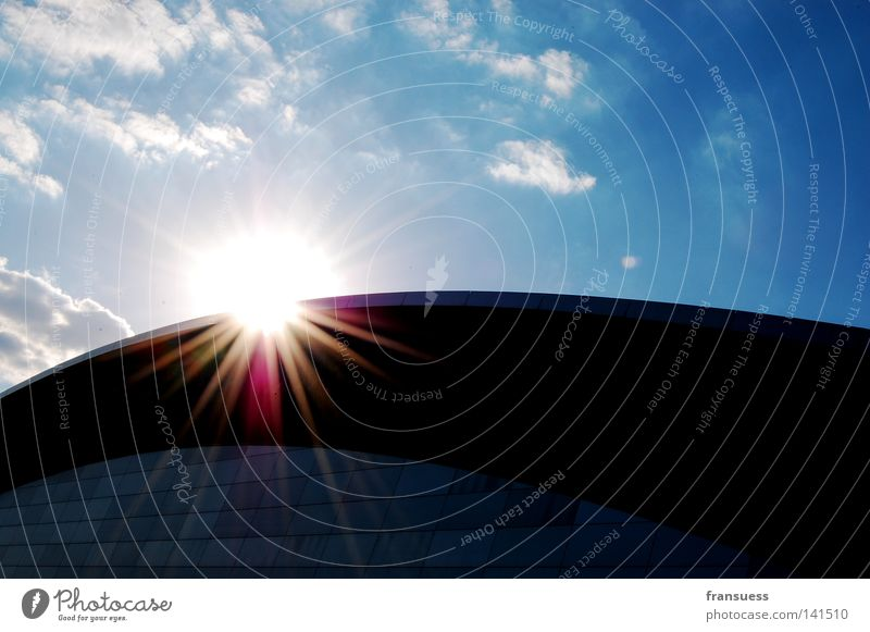 Sky Sun Clouds Window Lighting Architecture Glass Radiation Leipzig Arena Gymnasium Celestial bodies and the universe