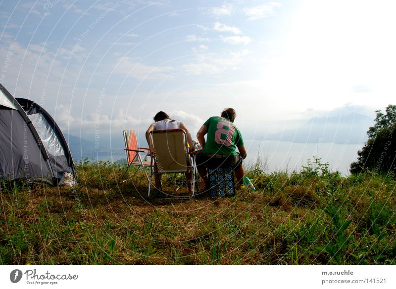 vista lago Mobile home Camping Italy Tent Ocean Summer vacation Vantage point Looking Lakeside Nature Meadow Free Freedom Lago Maggiore Hotel Nature Slope