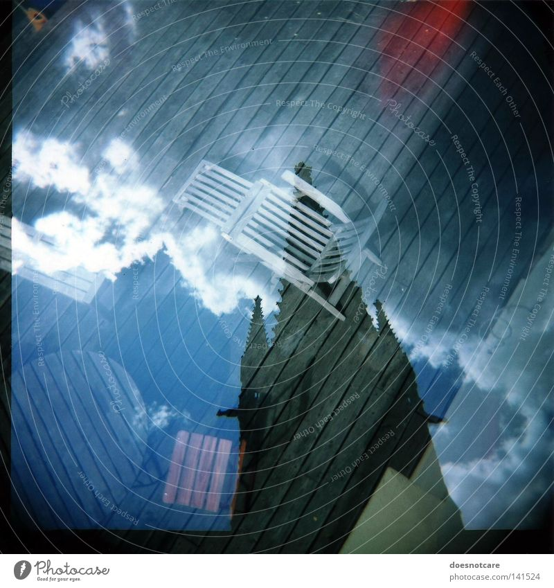 Sky Clouds Table Tourism Church Chair Gastronomy Analog Holga Café Double exposure Wooden floor Medium format House of worship Rome Italy