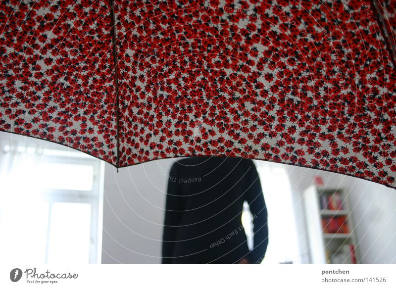 Headless. Man standing in a bright room. His head is covered by an umbrella. Hide Umbrella Ladybird Room White Light Shelves Concealed Flat (apartment) Red