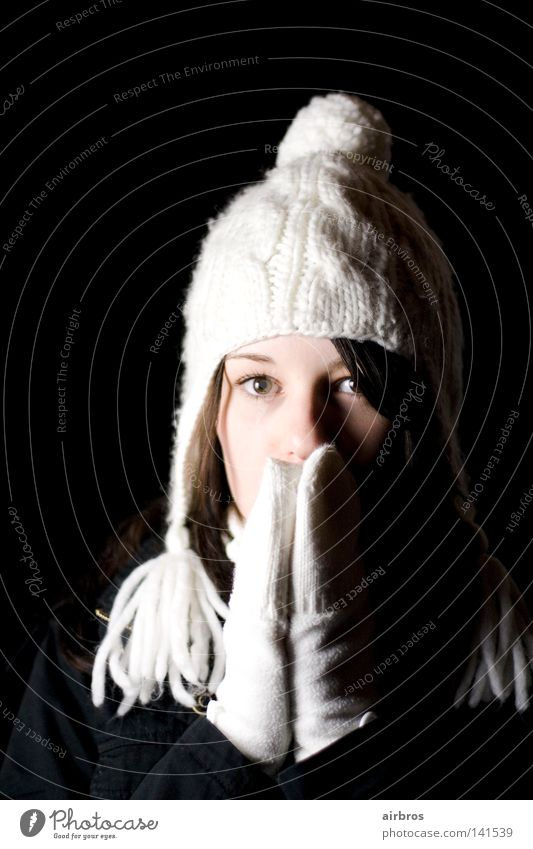 Woman Hand Youth (Young adults) White Winter Black Dark Cold Snow Hair and hairstyles Warmth Background picture Sweet Physics Cap Gloves