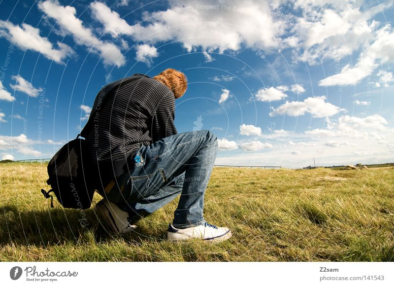 Human being Man Nature Sky Sun Green Blue Red Summer Calm Clouds Loneliness Far-off places Work and employment Meadow Hair and hairstyles