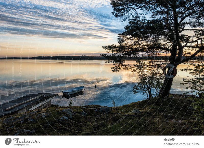 Archipelago on the Swedish coast Relaxation Vacation & Travel Tourism Island Nature Landscape Clouds Tree Coast Baltic Sea Ocean Watercraft Blue Green Moody
