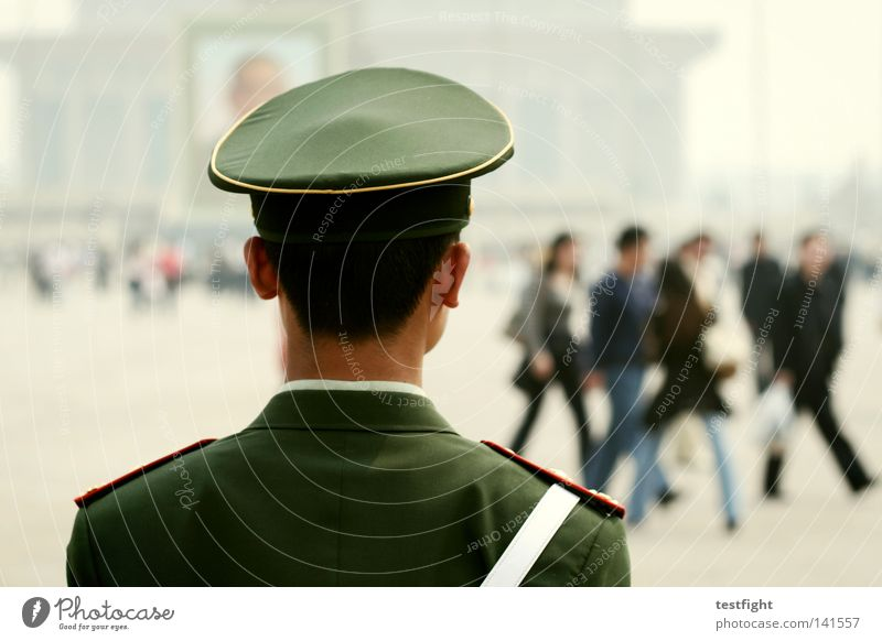heavenly peace China Beijing Places Open Square Tiananmen square Guard Surveillance Blur Stand Uniform Fill Demonstration University & College student Protest
