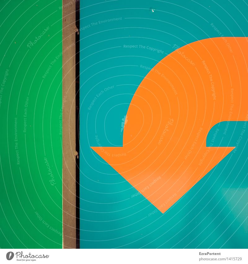 pessimist Metal Sign Signs and labeling Line Arrow Stripe Blue Green Orange Design Fiasco Planning Growth Advertising Graphic Illustration Downward Direction