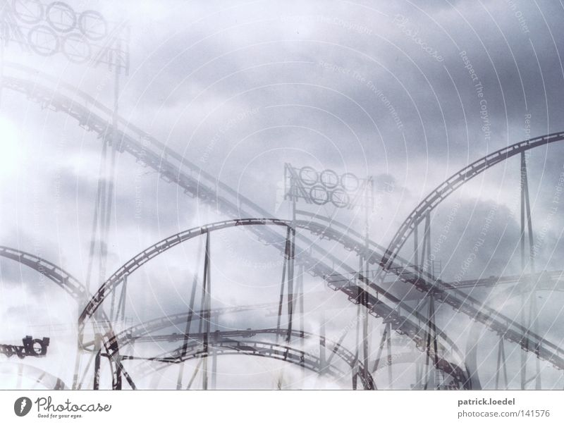 Sky Clouds Joy Playing Freedom Fear Speed Circle Railroad Driving Railroad tracks Fairs & Carnivals Construction Double exposure Dome Alcohol-fueled