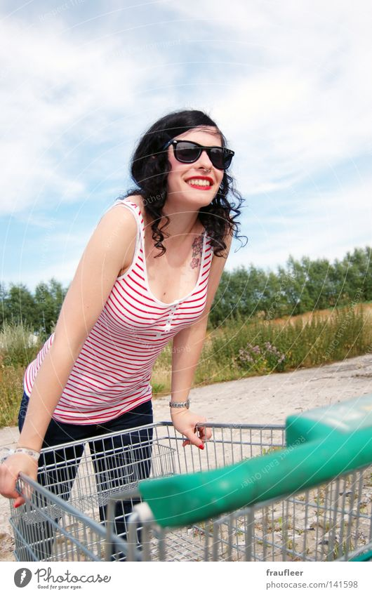 Joy in the wasteland Blue Far-off places Free Freedom Clouds Soft White Meadow Green Tree Oxygen Woman Tattoo Tattoo studio Tattooed Shopping Trolley