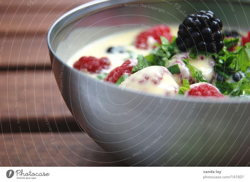 dessert Table Raspberry Blackberry Mint Herbs and spices Yoghurt Dessert Fresh Healthy Banana Bowl High-grade steel Vegetarian diet Nutrition Organic produce
