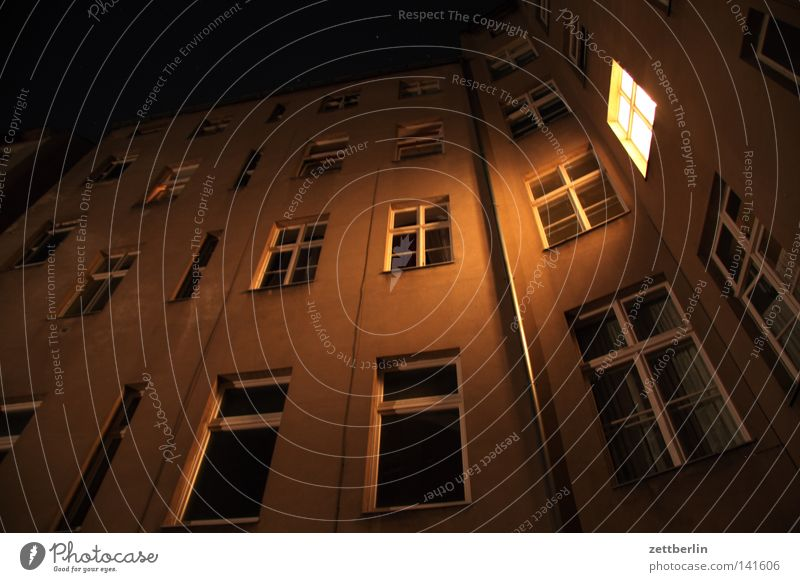 City House (Residential Structure) Dark Berlin Window Building Bright Lighting Architecture Facade Living or residing Manmade structures Illuminate Dusk Tenant
