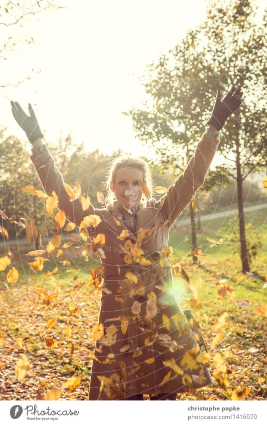 Human being Woman Nature Tree Leaf Adults Autumn Blonde To fall Throw 30 - 45 years
